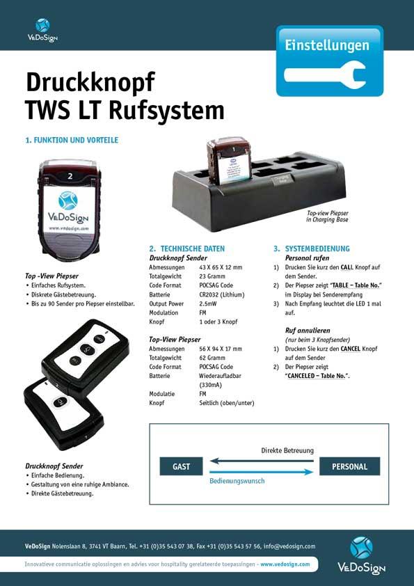 Anleitung Druckknopf TWS LT Rufsystem