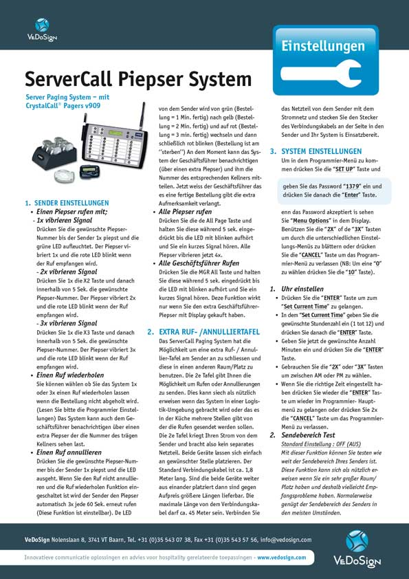 Anleitung ServiceCall Piepser System