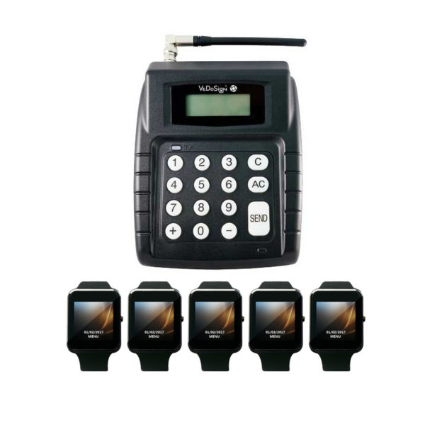 Compleet Pager Systeem Met 5 Smartwatch POCSAG Pagers Horloges