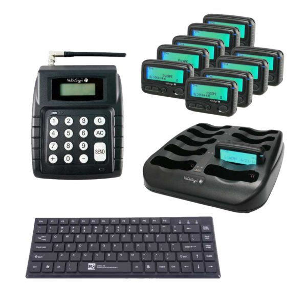 Compleet Pagersysteem Met 10 Alpha Pagers Toestsenbord V28