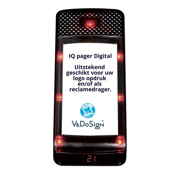 IQ Pager Digitaal gasten-oproep-buzzer met eigen logo sponsoring