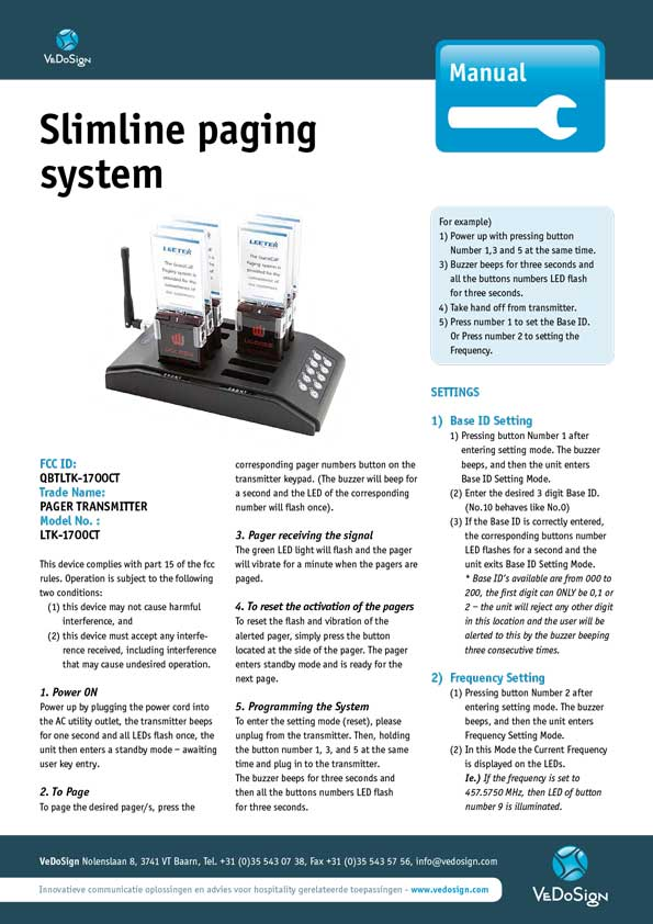 Manual Slimline Paging System