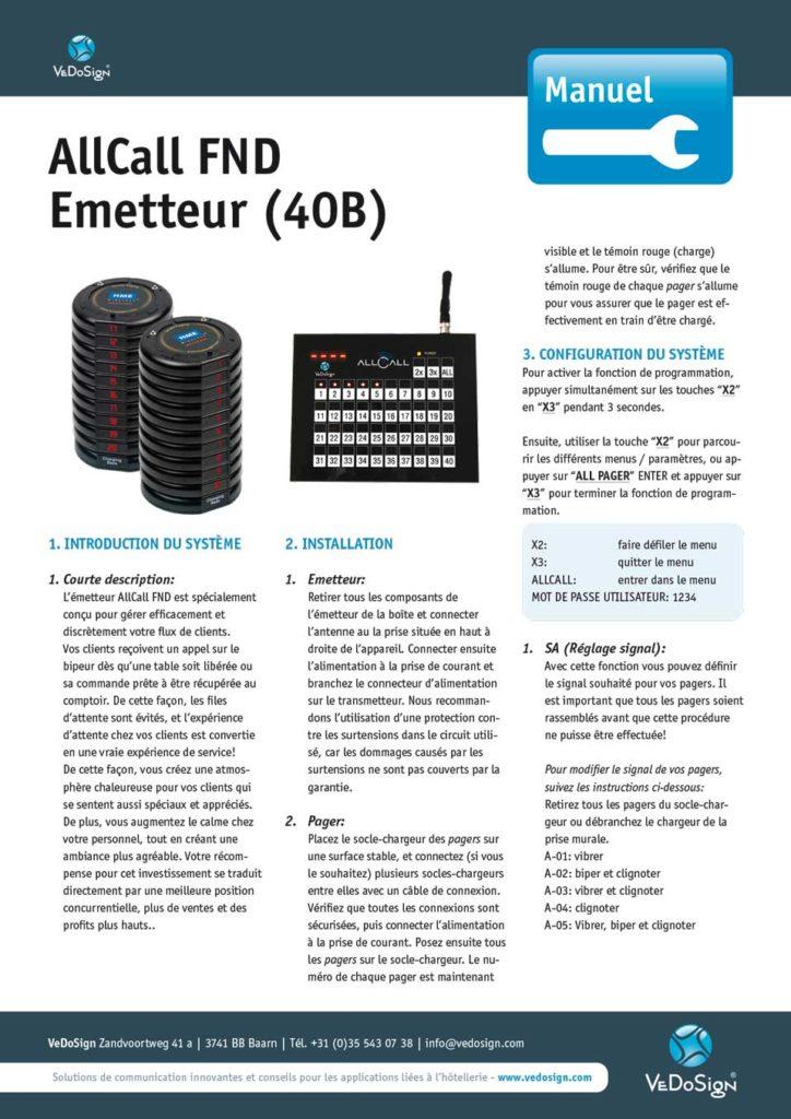Manuel AllCall FND Emetteur (40B)