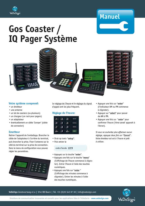Manuel Gos Coaster IQ Pager Systeme