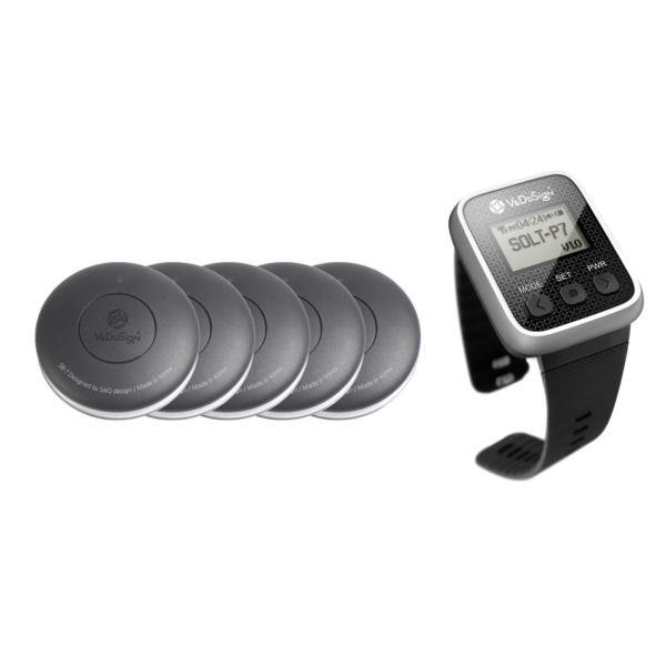 Service Oproepsysteem Premium 1 Knops 5 Knoppen + 1 Horloge