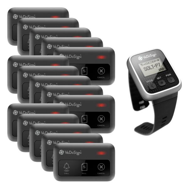 Service Oproepsysteem Premium 3 Knops 15 Knoppen 1 Horloge