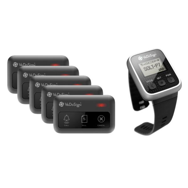 Service Oproepsysteem Premium 3 Knops 5 Knoppen 1 Horloge