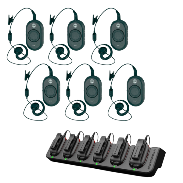 Set 6 Motorola CLP446 Portofoons Met Oortje En Multilader