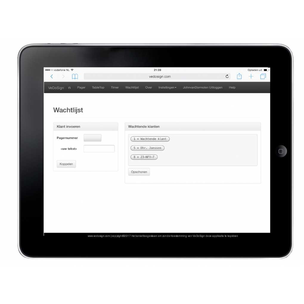 Software Wachtlijst Module Ipad Iphone Klant Knop